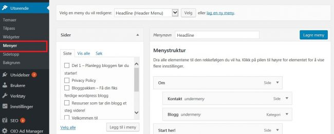 Menyer i wordpress